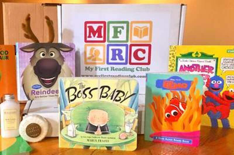 4 baby board books propped up.