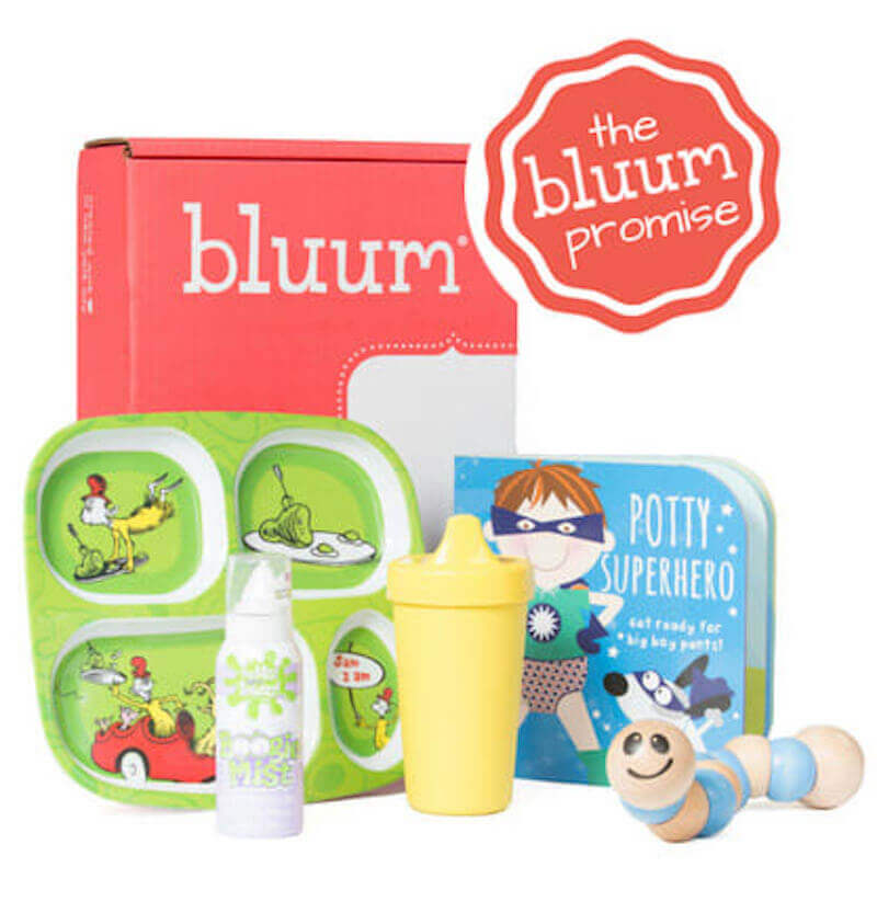 A pink box that says Bluum, with a child plate, sip cup, toy, and board book in front of it.