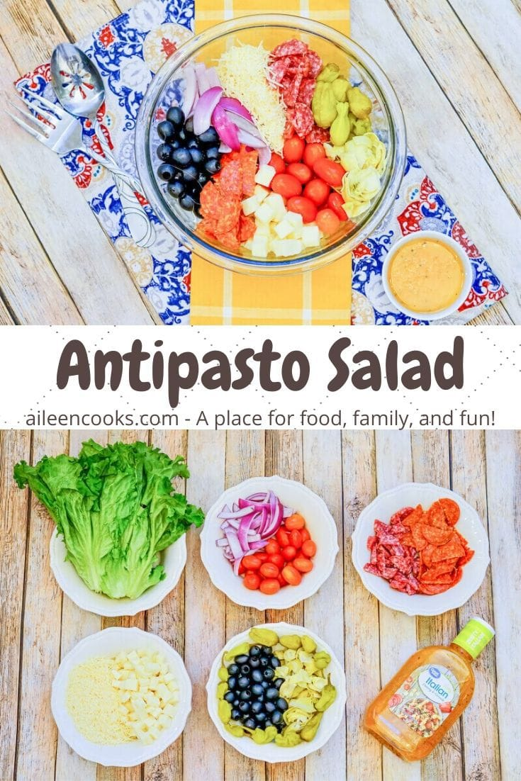 """Collage photo of antipasto salad and ingredients to make the salad with the words """"antipasto salad"""" in brown lettering."""