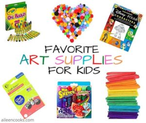 "Collage photo showing picture of pastels, Pom Poms, art books, glue dots, markers, and craft sticks with the words ""Favorite Art Supplies for Kids"" in the center."