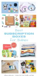 "Collage photo featuring 8 subscription boxes and the words ""best subscription boxes for babies""."