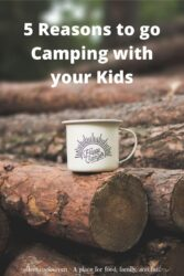 "A coffee cup on a log with the words ""5 reasons to go camping with your kids'."
