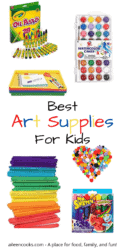 """Collage photo showcasing various art supplies with the words """"best art supplies for kids."""