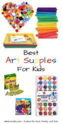 "Collage photo showcasing various art supplies with the words ""best art supplies for kids."