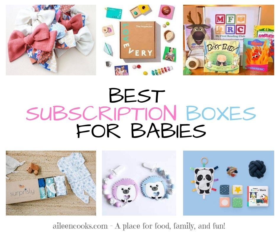 "Collage photo featuring 6 subscription boxes and the words ""best subscription boxes for babies""."