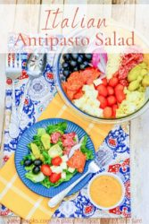 """A dish of antipasto salad next to a bowl of antipasto salad with the words """"Italian antipasto salad"""" in orange lettering."""