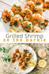 "Collage photo of two pictures of grilled shrimp with the words ""grilled shrimp on the barbie"" in brown and yellow lettering."