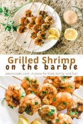 "Collage photo of two pictures of grilled shrimp with the words ""grilled shrimp on the barbie"" in brown lettering."