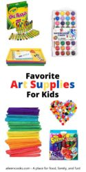 Collage photo showcasing various art supplies with the words favorite art supplies for kids.