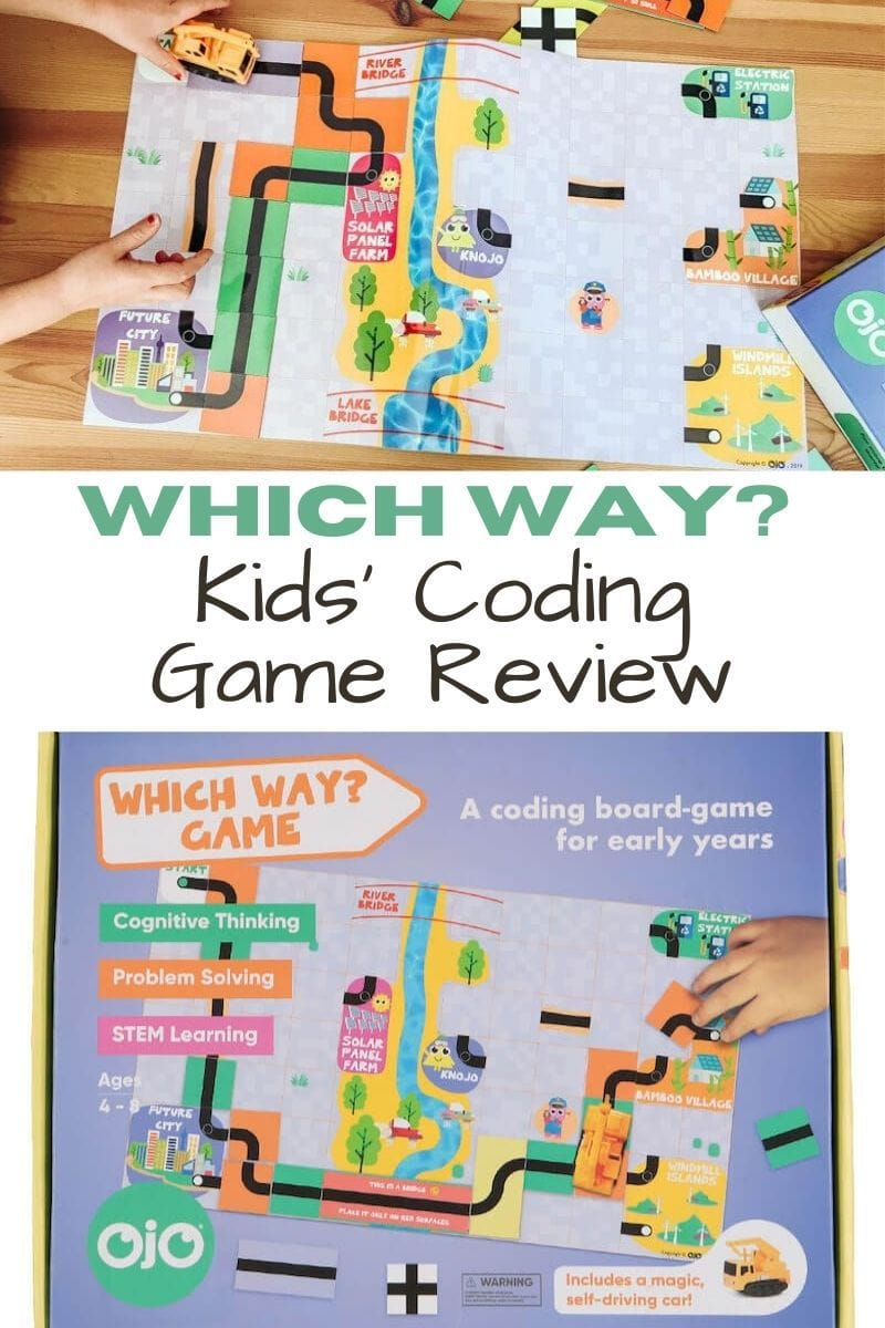 "Collage photo of kids playing Which Way? game and the front of the game box with the words ""Which Way? Kids Coding Game Review""."