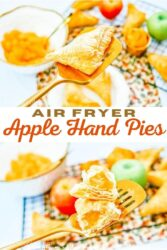 "Collage photo of apple turnovers with the words ""air fryer apple hand pies"" in brown and red lettering."