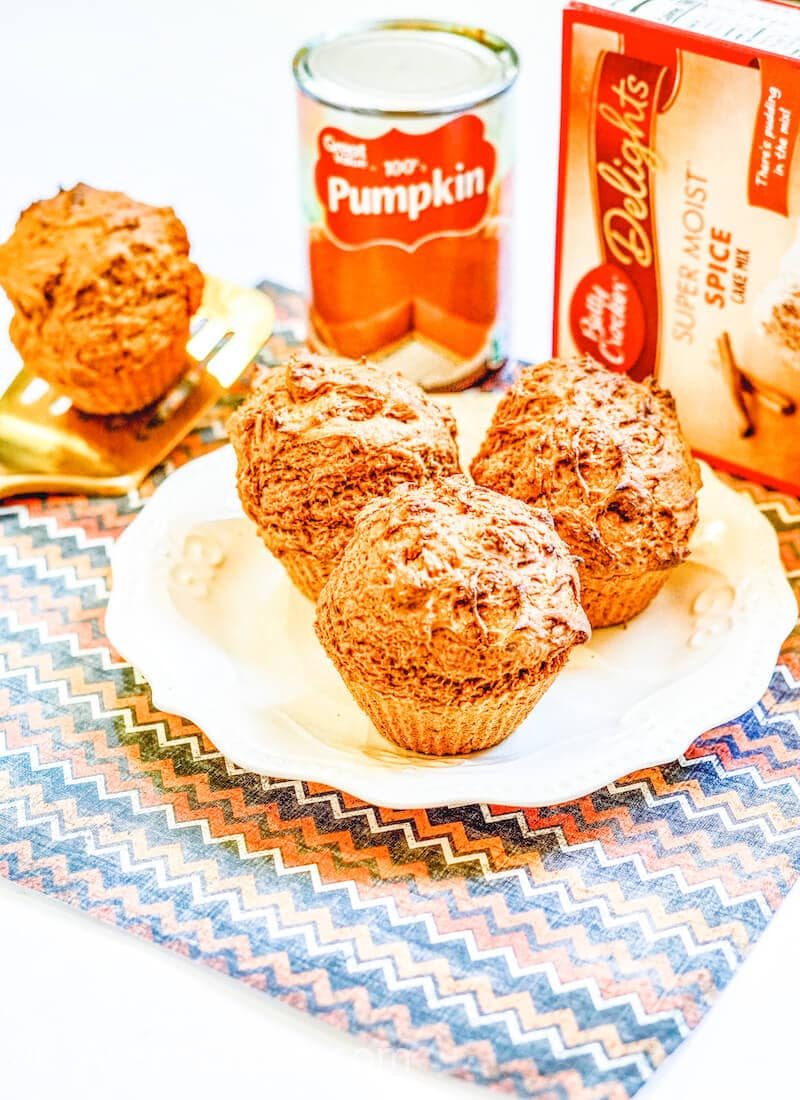 Three pumpkin muffins on a white and gold plate.