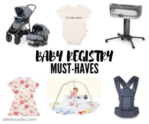 "Collage photo of baby gear items with the words ""baby registry must-haves"" in black lettering."