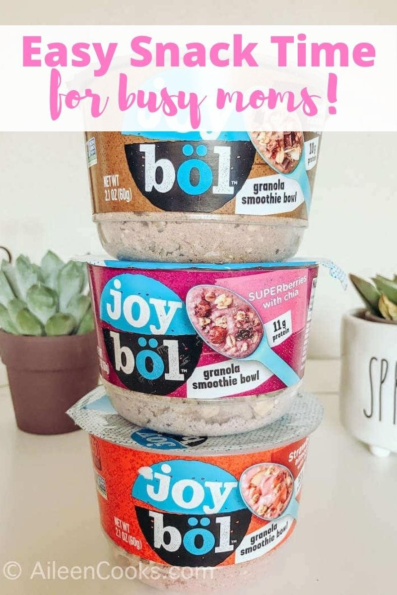 """Three joybols sacked up and the words """"easy snack time for busy moms!"""" in pink lettering."""