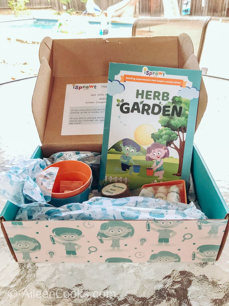 The inside of the iSprowt Herb Garden Kit.