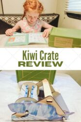 """Collage photo of two pictures of kiwi crate with the words """"kiwi crate review"""" in the center."""
