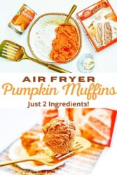 "Collage photo of pumpkin muffins and pumpkin muffin ingredients with the words ""air fryer pumpkin muffins - just 2 ingredients"" in orange and brown lettering."