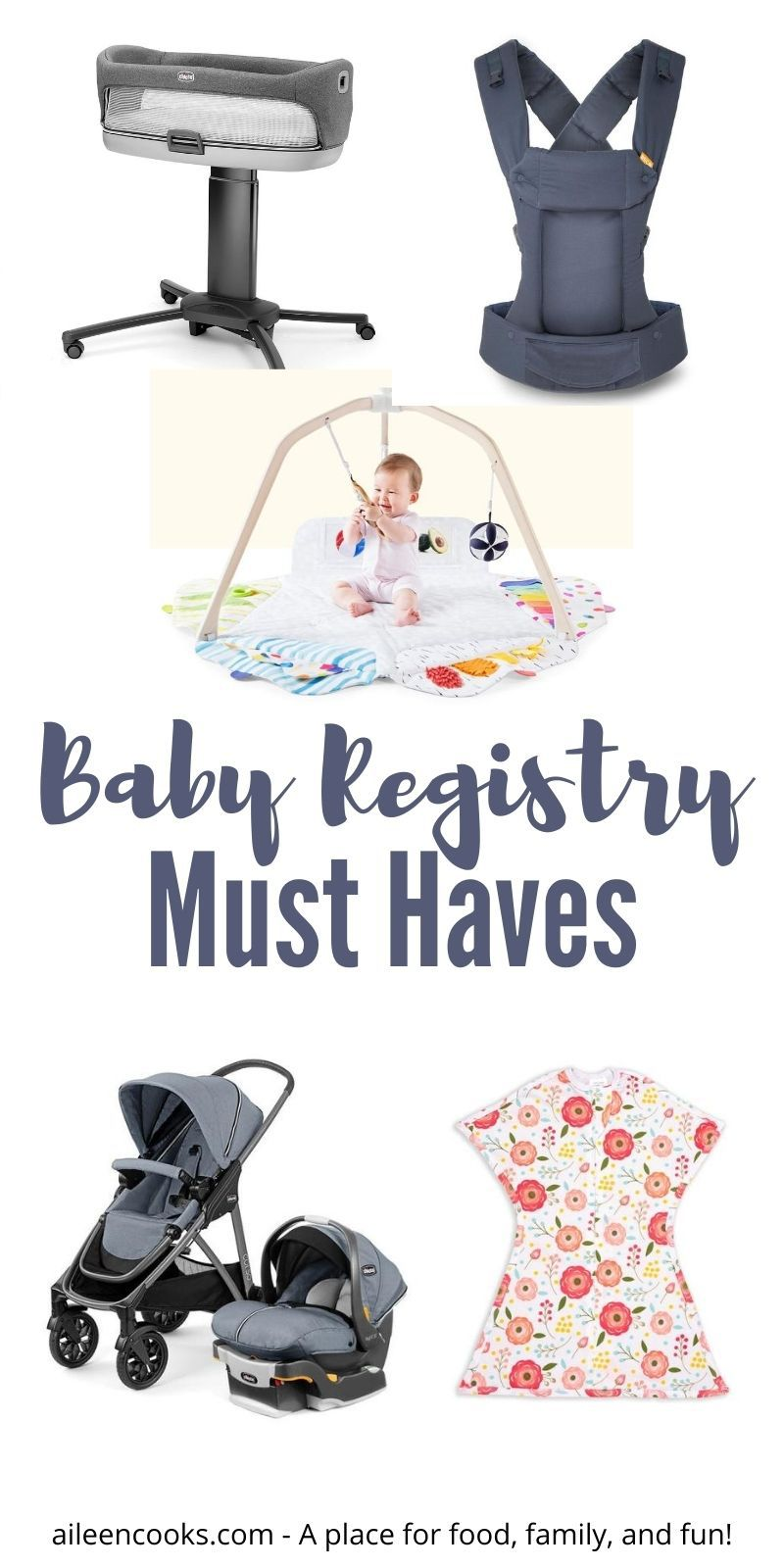 """Collage photo of baby gear with the words """"baby registry must-haves"""" in grey lettering."""