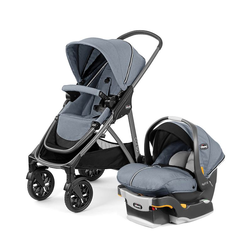 A grey stroller next to a grey infant car seat.