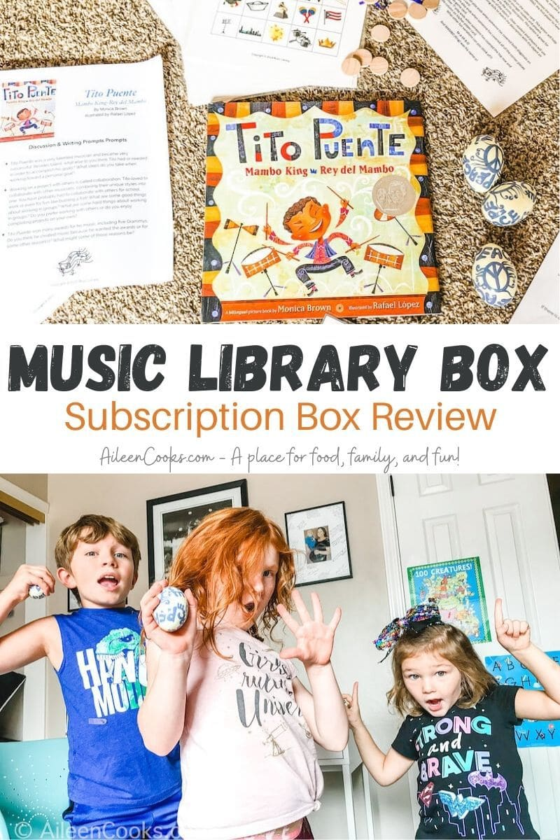"Collage photo of the contents of the Music Library Box above a picture of kids dancing with the words ""Music Library Box Subscription Box Review"" in the center of the two pictures."