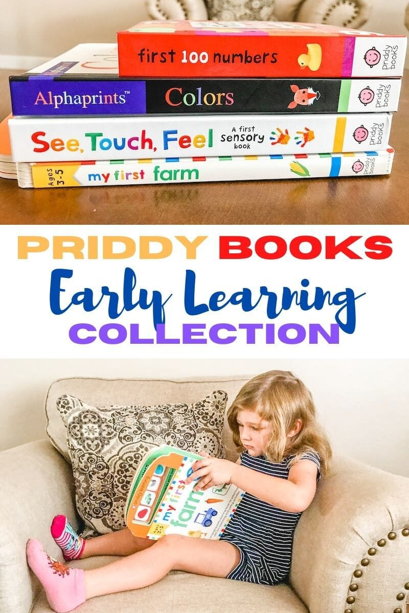Collage photo of stack of children's books and little girl sitting on a chair and reading a book.