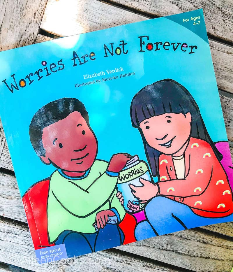 "A blue story book called ""Worries Are Not Forever""."