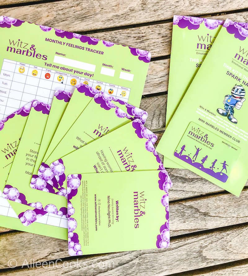 Green and purple mindfulness cards by Witz & Marbles.