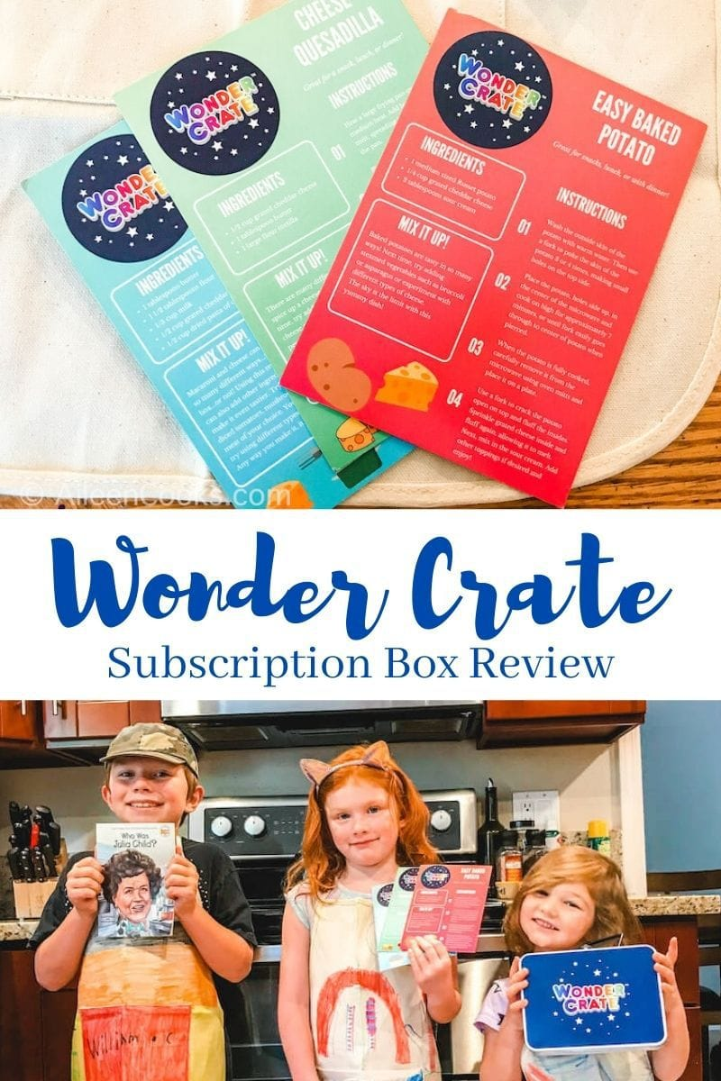 Collage photo of Wonder Crate recipe cards and three kids holding up the wonder crate lunch box, book, and activity cards.