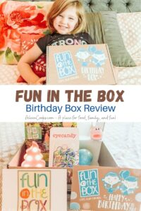 Collage photo of little girl holding a Fun in the Box and picture of the inside of the box.