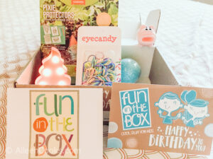 The contents of the Birthday Box inside the box.