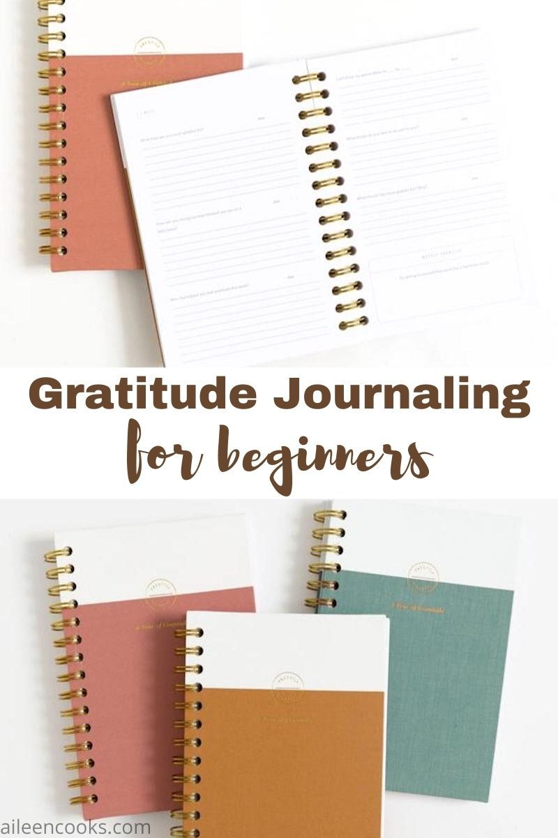 "Collage photo of two pictures of journals with the words ""gratitude journaling for beginners"" in brown lettering."