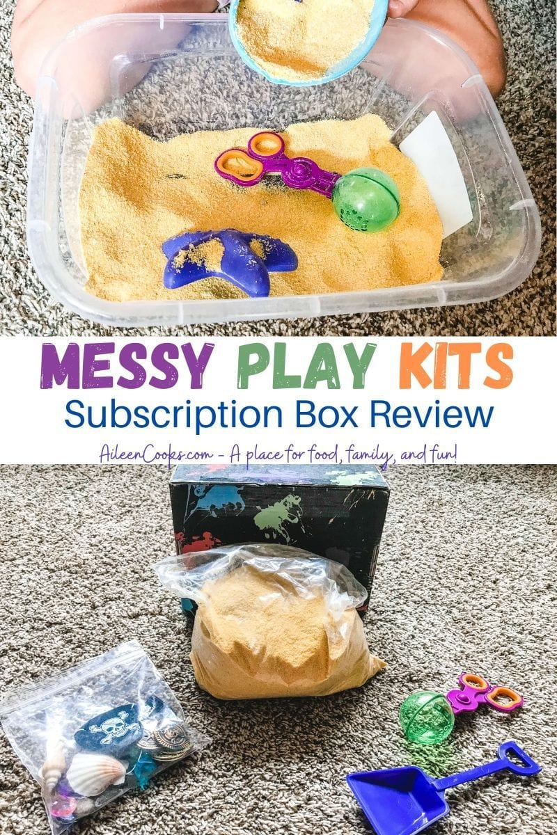 "Collage photo of messy play kit box contents and the inside of a sensory bin with the words ""messy play kits subscription box review""."