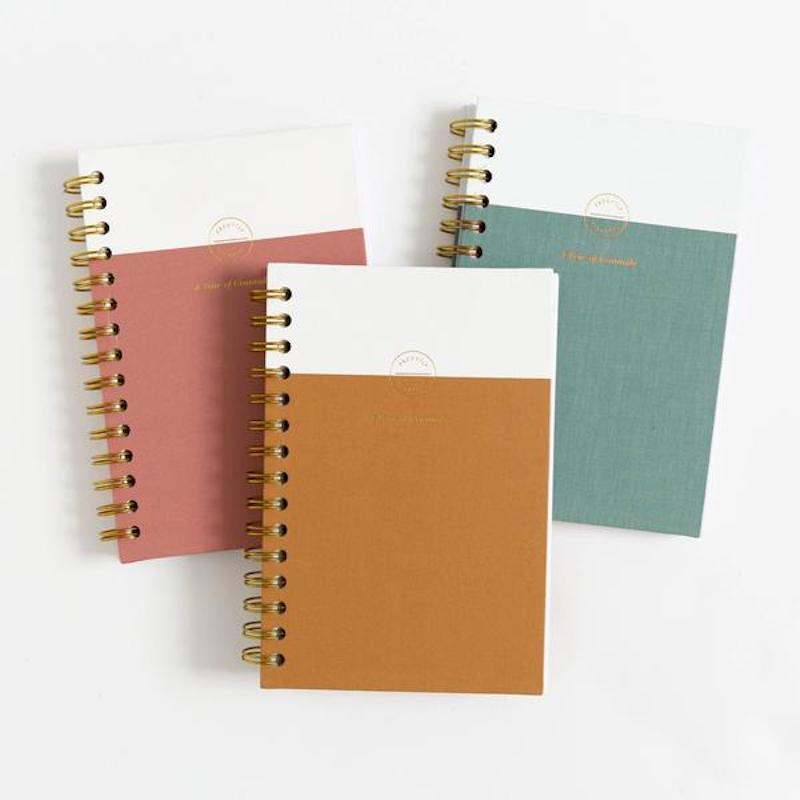 Three Promptly gratitude journals in assorted colors.