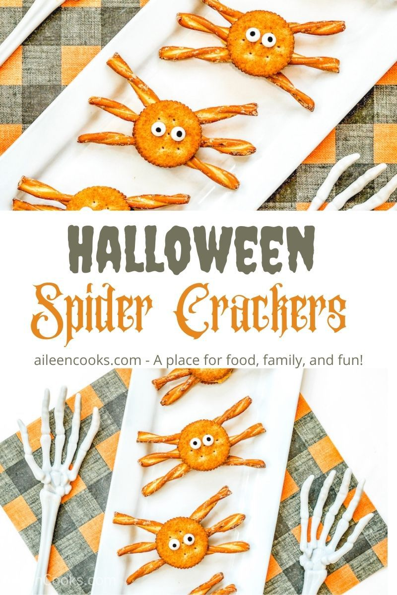 "Collage photo of spider crackers with the words ""Halloween Spider Crackers"" in the center."