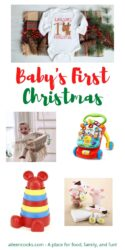 "Collage photo of baby gifts with words ""baby's first Christmas"" in red and green lettering."