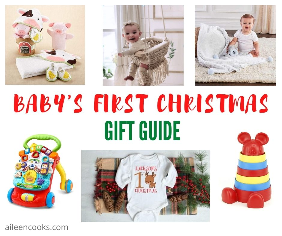 "Collage photo of baby gifts with words ""baby's first Christmas Gift Guide"" in red and green lettering."