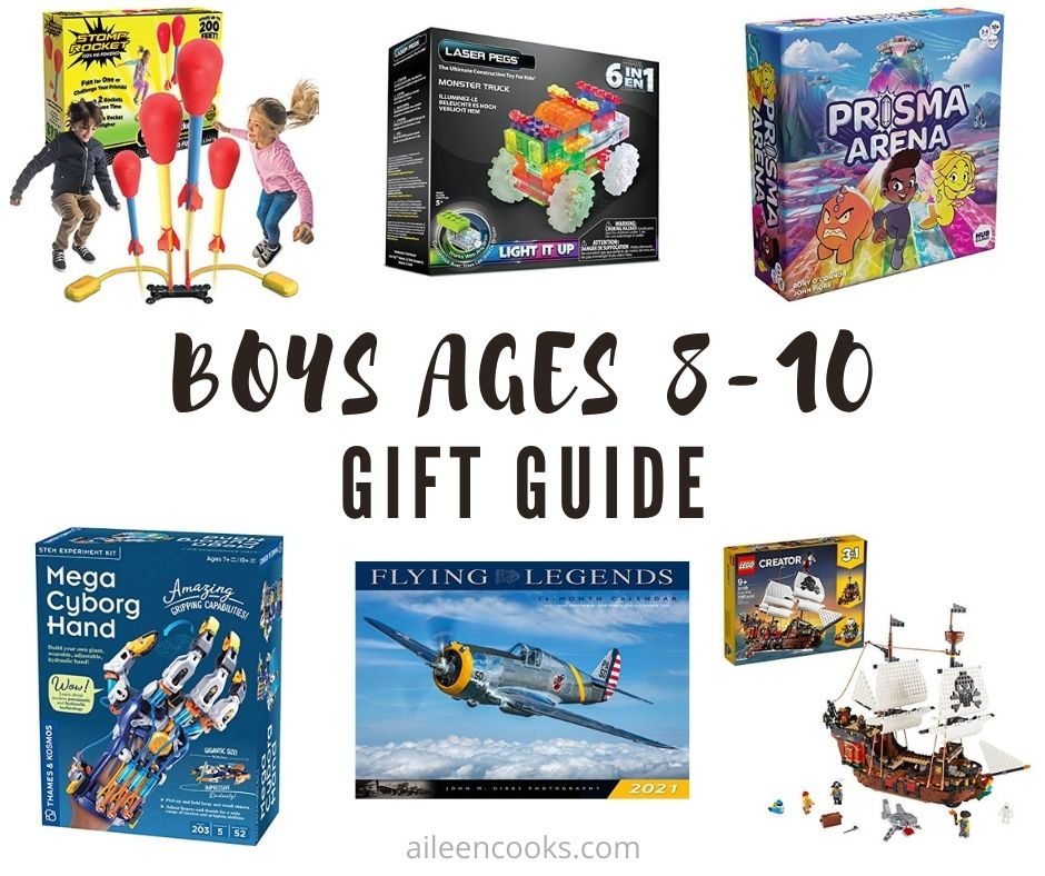 "Collage photo of gift ideas for boys with words ""boys ages 8 to 10 gift guide"" in black lettering."