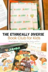 "Collage photo of the Jambo Books box and the books included with the words ""The Ethnically Diverse Book Club for Kids"" in black and orange lettering."