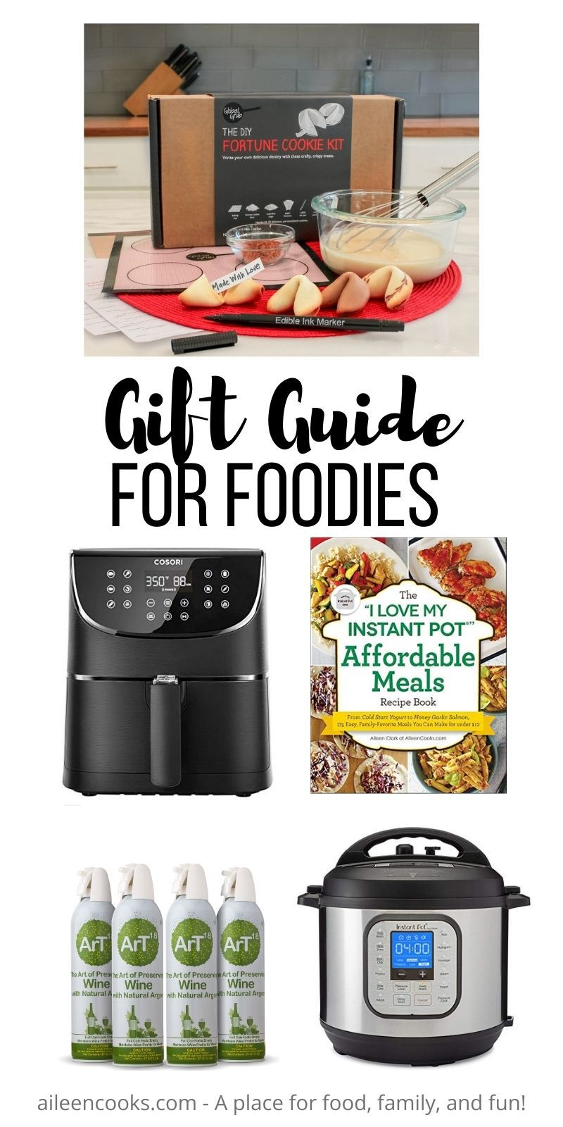 """Collage photo of gift ideas for foodies with the words """"gift guide for foodies"""" in black lettering."""