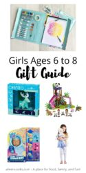 """Collage photo of gift ideas for girls with words """"girls ages 6 to 8 gift guide"""" in black lettering."""