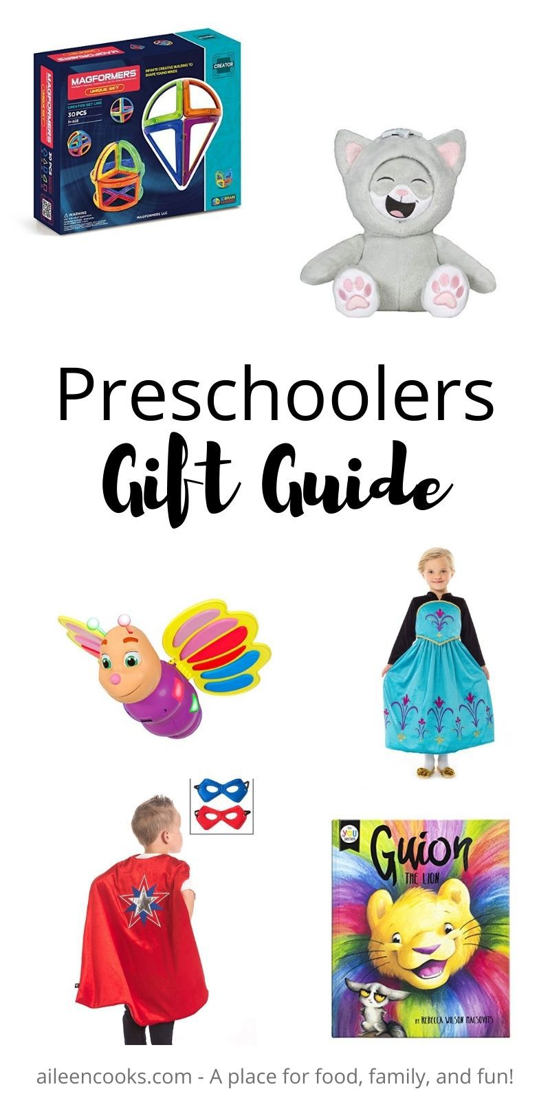 """Collage photo of gift ideas for preschoolers with words """"preschoolers gift guide"""" in black lettering."""