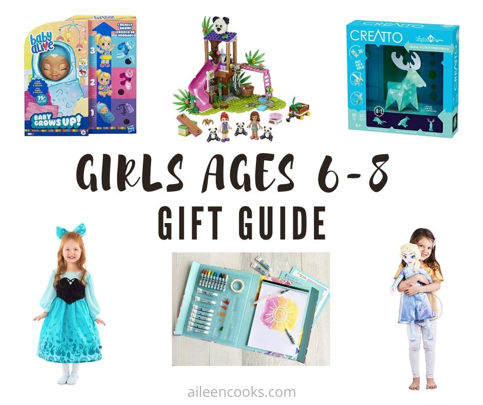 "Collage photo of gift ideas for girls with words ""girls ages 6 to 8 gift guide"" in black lettering."