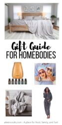 """Collage photo of gift ideas for the home with words """"gift guide for homebodies"""" in black lettering."""