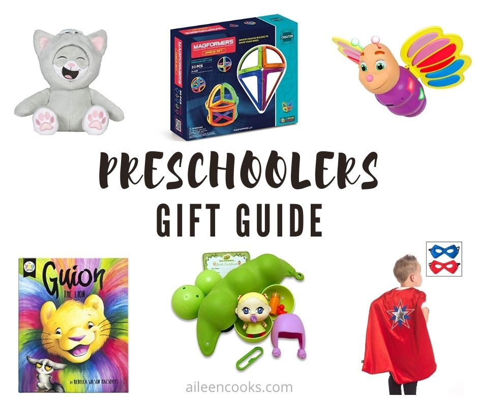 "Collage photo of gift ideas for preschoolers with words ""preschoolers gift guide"" in black lettering."