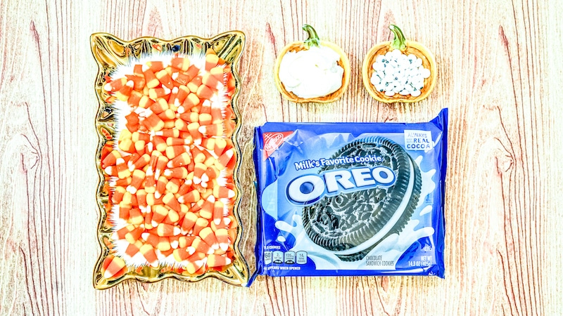 turkey oreos ingredients including candy corn, oreos, and frosting