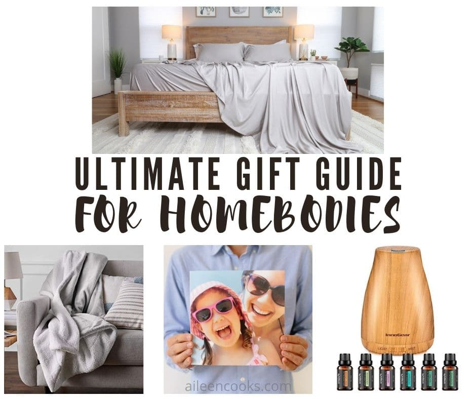 """Collage photo of gift ideas for the home with words """"ultimate gift guide for homebodies"""" in black lettering."""