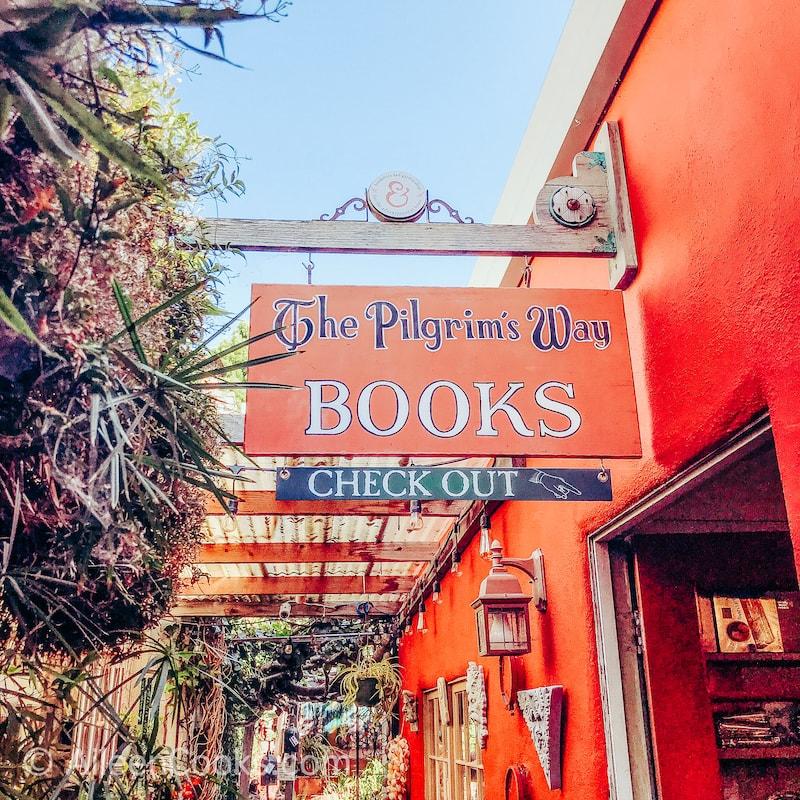 A bookstore sign in Carmel.