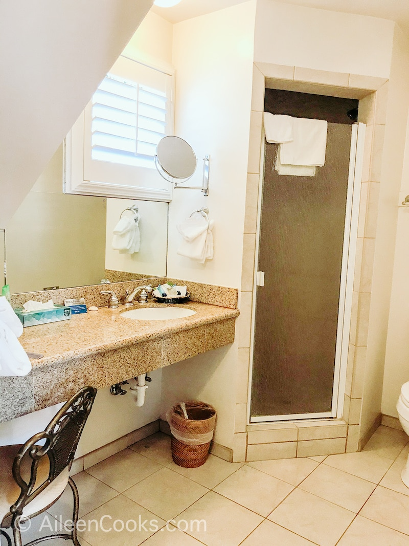 The bathroom inside Hofsas House Hotel.