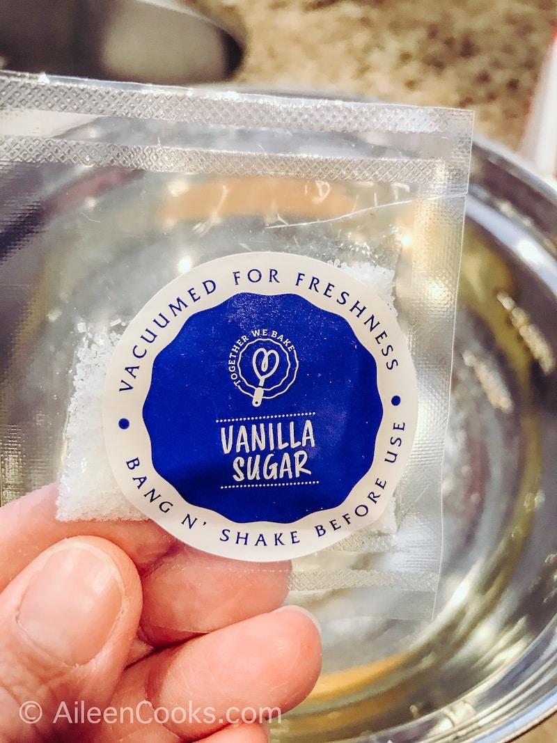 A plastic bag of pre-measured vanilla sugar.