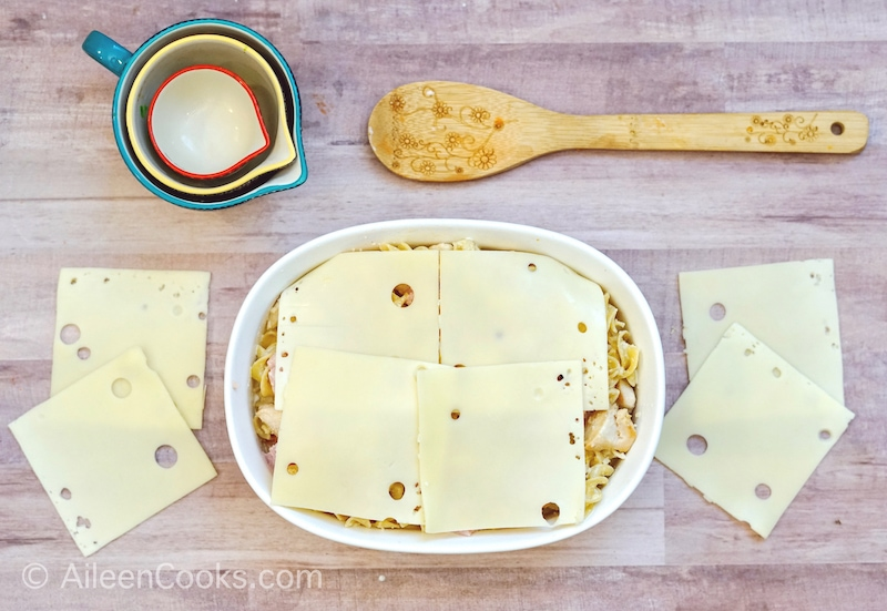 Casserole topped with Swiss cheese.